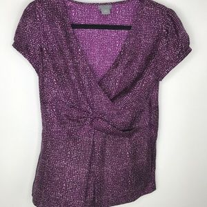 Ann Taylor Silk Blouse Side Zipper Purple Vneck